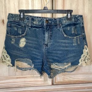 Free People Distressed Lace Appliqué Jean Shorts